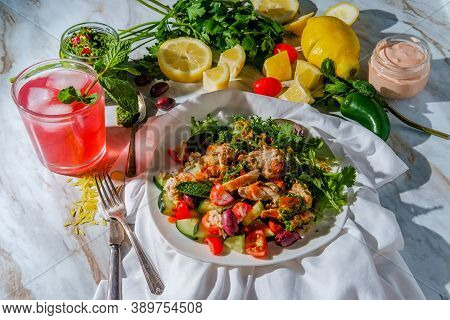Sunny Day Middle Eastern Chicken Shawarma Salad Rice Platter With Ingredients Surrounding