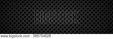 Perforated Black Metallic Header. Abstract Stainless Steel Banner. Simple Vector Illustration