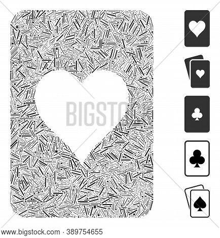 Hatch Mosaic Based On Hearts Gambling Card Icon. Mosaic Vector Hearts Gambling Card Is Created With