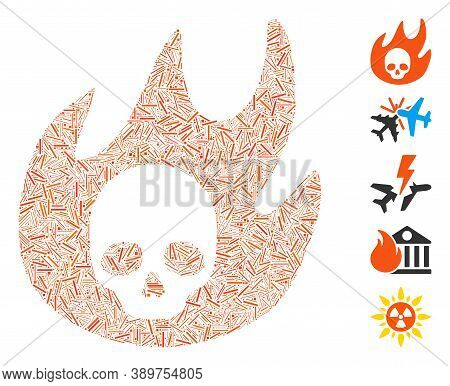 Line Mosaic Based On Hell Fire Icon. Mosaic Vector Hell Fire Is Composed With Randomized Line Spots.