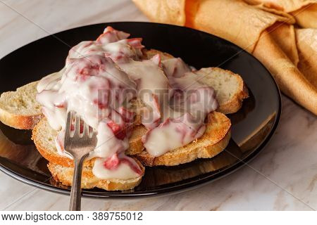 Creamed And Chipped Beef On Sliced Toast On Marble Kitchen Table Also Known As S.o.s.
