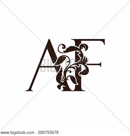 Initial Letter A And F, Af Luxury Logo Icon, Monogram Vintage Design  With Tropical Nature Leaves El