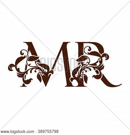 Initial Letter M And R, Mr Luxury Logo Icon, Monogram Vintage Design  With Tropical Nature Leaves El