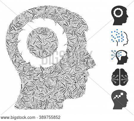 Line Mosaic Based On Human Memory Wheel Icon. Mosaic Vector Human Memory Wheel Is Created With Rando