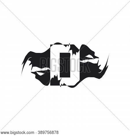 Black Splash D Letter Logo Icon. Abstract Design Concept Mountain Splash With Hidden Letter Vector D