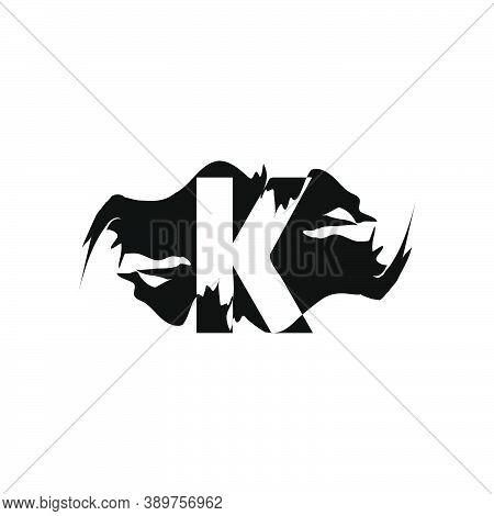 Black Splash K Letter Logo Icon. Abstract Design Concept Mountain Splash With Hidden Letter Vector D