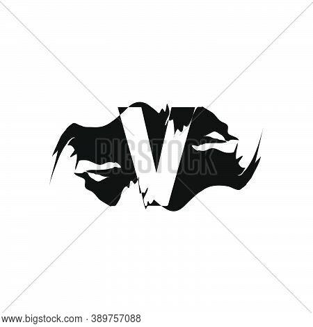 Black Splash V Letter Logo Icon. Abstract Design Concept Mountain Splash With Hidden Letter Vector D