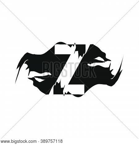 Black Splash Z Letter Logo Icon. Abstract Design Concept Mountain Splash With Hidden Letter Vector D