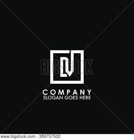 Monogram Logo D And V, Dv Initial Letter Looping Linked Square Line Shape Design For Business Style.