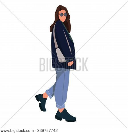 Beautiful Fashionable Young Woman In Casual Outerwear. Stylish Warm Seasonal Wear. Modern Female Cha