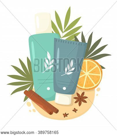 A Bottle Of Tonic And A Tube Of Cream, Orange Leaves And Slices. Skin Care. Natural Cosmetic. Vector