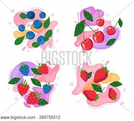 Set Of Berries On Abstract Vivid Backgrounds. Blueberries, Raspberries, Blackberries, Cherries And S