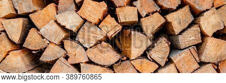 Wall Firewood , Background Of Dry Chopped Firewood Logs In A Pile. Firewood Texture. Stack Of Dry Ch