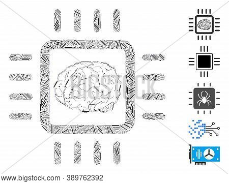 Hatch Mosaic Based On Neural Chip Icon. Mosaic Vector Neural Chip Is Formed With Random Hatch Spots.