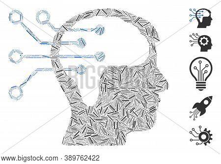 Dash Mosaic Based On Neural Interface Circuit Icon. Mosaic Vector Neural Interface Circuit Is Formed
