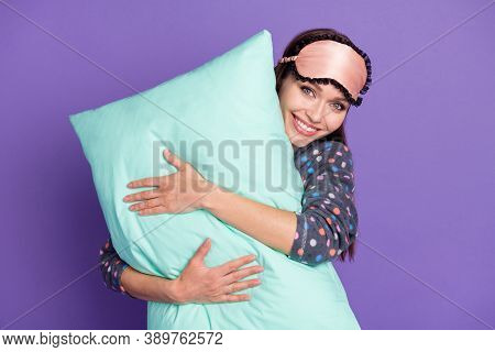 Photo Of Positive Cheerful Hug Embrace Pillow Enjoy Healthy Comfort Relax Rest Nap Wear Dotted Pajam