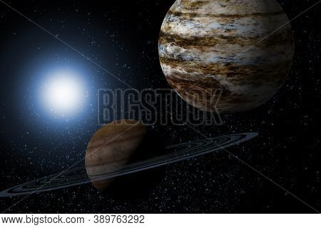 Planets Saturn And Jupiter With Background Starscape 3d Illustration