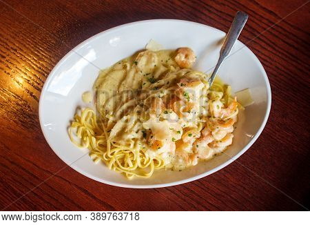 Fresh Italian Shrimp Scampi With Shaved Parmesan Cheese