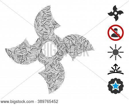 Dash Mosaic Based On Quadro Ninja Star Icon. Mosaic Vector Quadro Ninja Star Is Composed With Random
