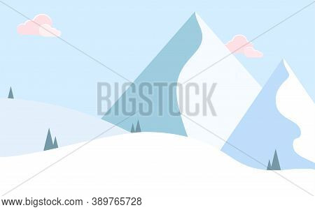 Snow Mountain Vector Illustration In Flat Design Winter Landscape With Mountain Peaks, Snowdrifts An