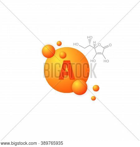Vitamin A Icon. Vitamin Complex With Chemical Formula. Vector On Isolated White Background. Eps 10