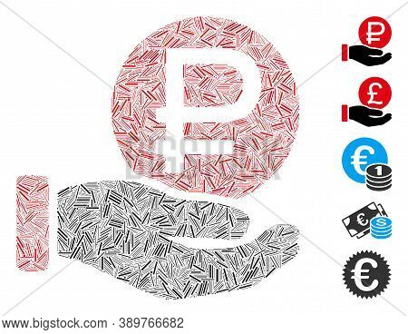 Hatch Mosaic Based On Rouble Coin Payment Icon. Mosaic Vector Rouble Coin Payment Is Designed With S