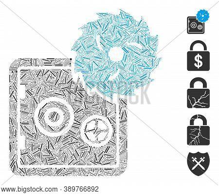 Dash Mosaic Based On Safe Hacking Theft Icon. Mosaic Vector Safe Hacking Theft Is Designed With Rand