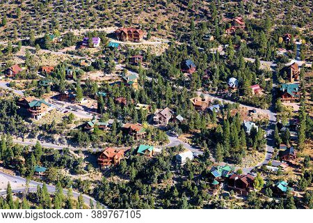 Vacation Homes On Residential Streets Surrounded By A Pine Forest On An Alpine Plateau Taken In Mt C