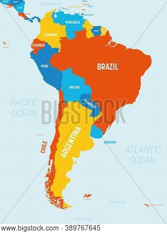 South America Map - 4 Bright Color Scheme. High Detailed Political Map South American Continent With