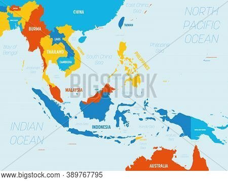 Southeast Asia Map - 4 Bright Color Scheme. High Detailed Political Map Of Southeastern Region With