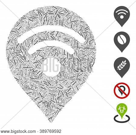 Hatch Mosaic Based On Wi-fi Map Marker Icon. Mosaic Vector Wi-fi Map Marker Is Composed With Random
