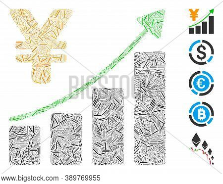 Dash Mosaic Based On Yen Growth Graph Icon. Mosaic Vector Yen Growth Graph Is Designed With Randomiz