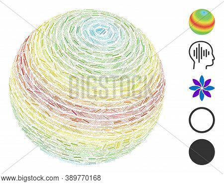 Line Mosaic Based On Abstract Sphere Spectrum Stripes Icon. Mosaic Vector Abstract Sphere Spectrum S