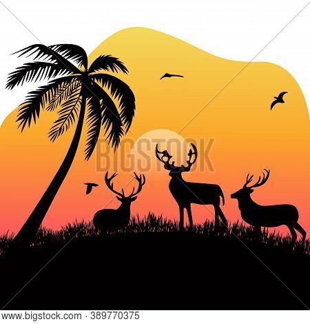 Group Deer On Meadow Flying Bird Coconut Tree At Dusk Silhouette With Flat Style