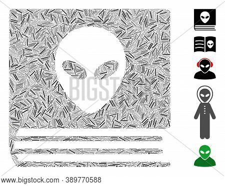 Dash Mosaic Based On Alien Catalog Icon. Mosaic Vector Alien Catalog Is Created With Random Dash Ele