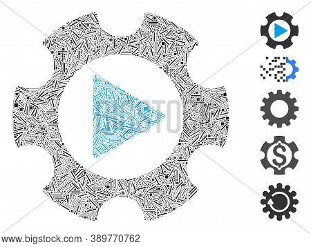 Hatch Mosaic Based On Automation Gear Icon. Mosaic Vector Automation Gear Is Composed With Random Ha