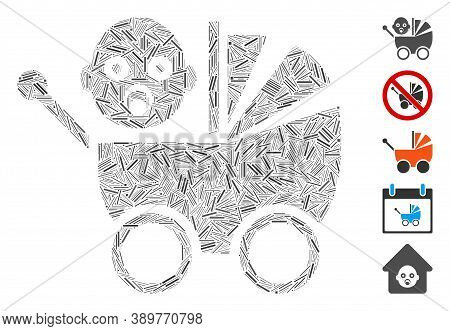 Hatch Mosaic Based On Baby Carriage Icon. Mosaic Vector Baby Carriage Is Composed With Scattered Hat