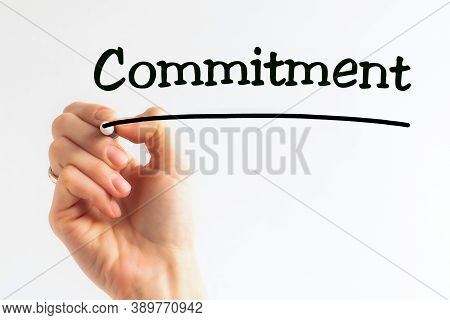 Hand Writing Inscription Commitment With Marker, Concept, Stock Image