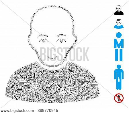 Hatch Mosaic Based On Bald Man Icon. Mosaic Vector Bald Man Is Designed With Randomized Hatch Dots.