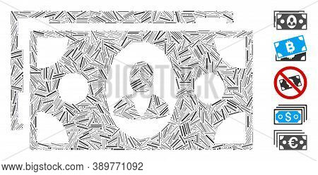 Hatch Mosaic Based On Banknotes Icon. Mosaic Vector Banknotes Is Designed With Random Hatch Spots. B
