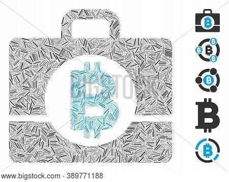Dash Mosaic Based On Bitcoin Accounting Case Icon. Mosaic Vector Bitcoin Accounting Case Is Composed