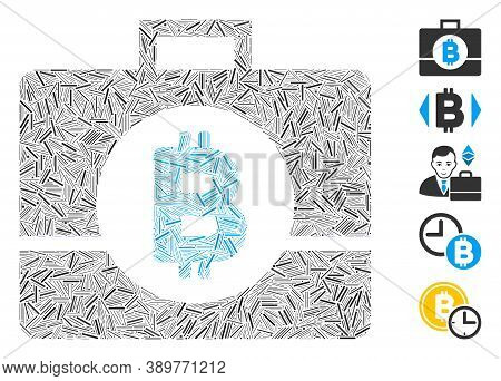 Line Mosaic Based On Bitcoin Business Case Icon. Mosaic Vector Bitcoin Business Case Is Designed Wit