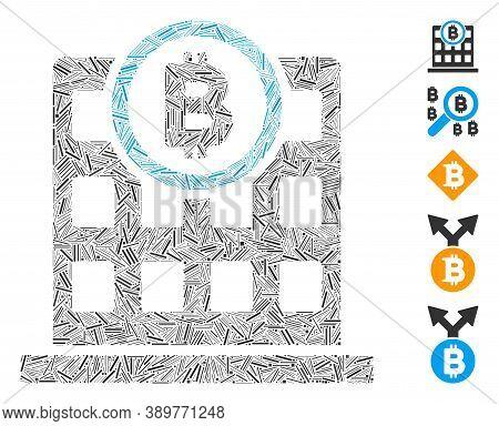 Line Mosaic Based On Bitcoin Corporation Building Icon. Mosaic Vector Bitcoin Corporation Building I