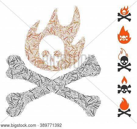 Hatch Mosaic Based On Bones Fire Icon. Mosaic Vector Bones Fire Is Formed With Random Hatch Items. B