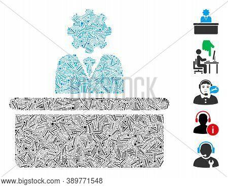 Dash Mosaic Based On Bureaucrat Icon. Mosaic Vector Bureaucrat Is Designed With Randomized Dash Item