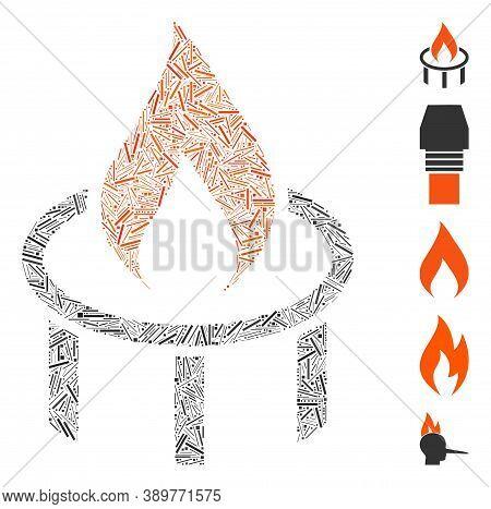 Hatch Mosaic Based On Burner Nozzle Flame Icon. Mosaic Vector Burner Nozzle Flame Is Formed With Ran
