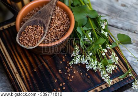 Raw Uncooked Buckwheat. Ingredients For Gluten-free Porridge. Sprig Of Buckwheat With White Flowers.