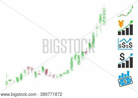Line Mosaic Based On Candlestick Chart Growth Acceleration Icon. Mosaic Vector Candlestick Chart Gro