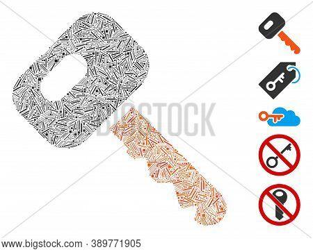 Hatch Mosaic Based On Car Key Icon. Mosaic Vector Car Key Is Designed With Random Hatch Items. Bonus
