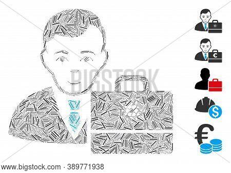Hatch Mosaic Based On Cardano Accounter Icon. Mosaic Vector Cardano Accounter Is Composed With Rando